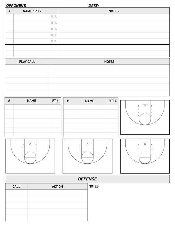 Bench Scouting Sheet   Basketball   Pinterest