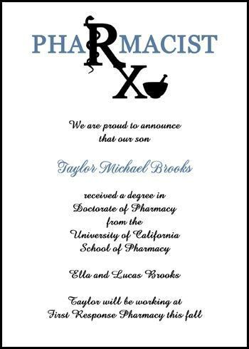 17 best Pharmacy Graduation Announcement for Rx Pharmacist images ...