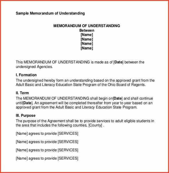 MEMORANDUM OF UNDERSTANDING SAMPLE | Proposalsheet.com