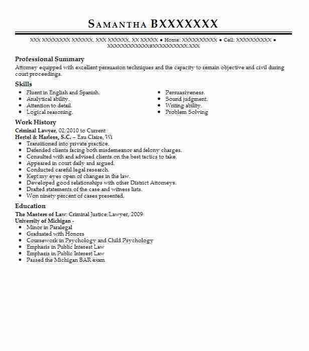 Best Lawyer Resume Example | LiveCareer