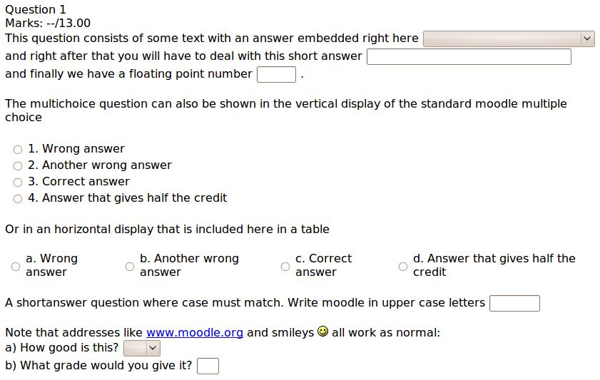 Embedded Answers (Cloze) question type - MoodleDocs