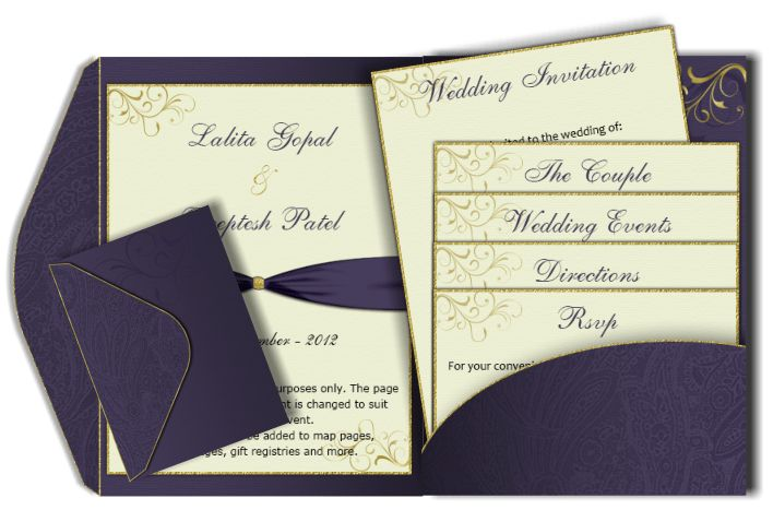 Pocket Fold Email Wedding Invitation Card Templates – Luxury ...
