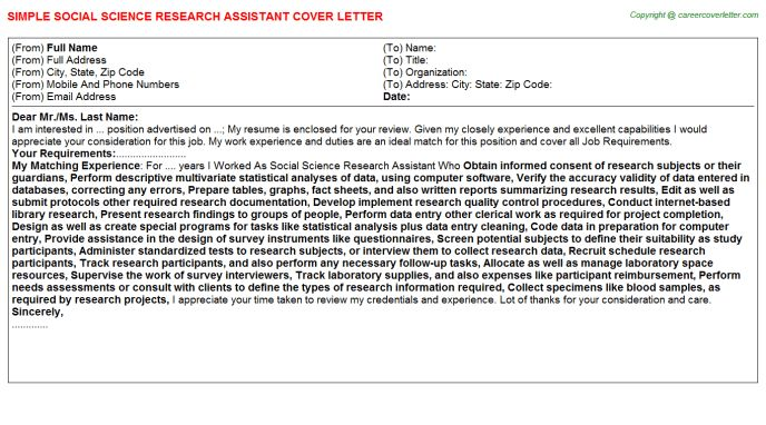 Social Science Research Assistant Cover Letter