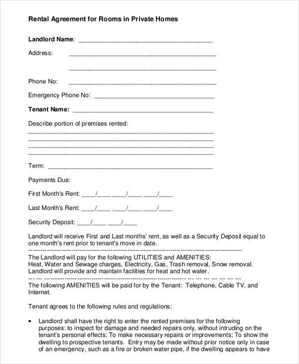 8+ Room Rental Agreement Templates – Free Sample, Example Format ...