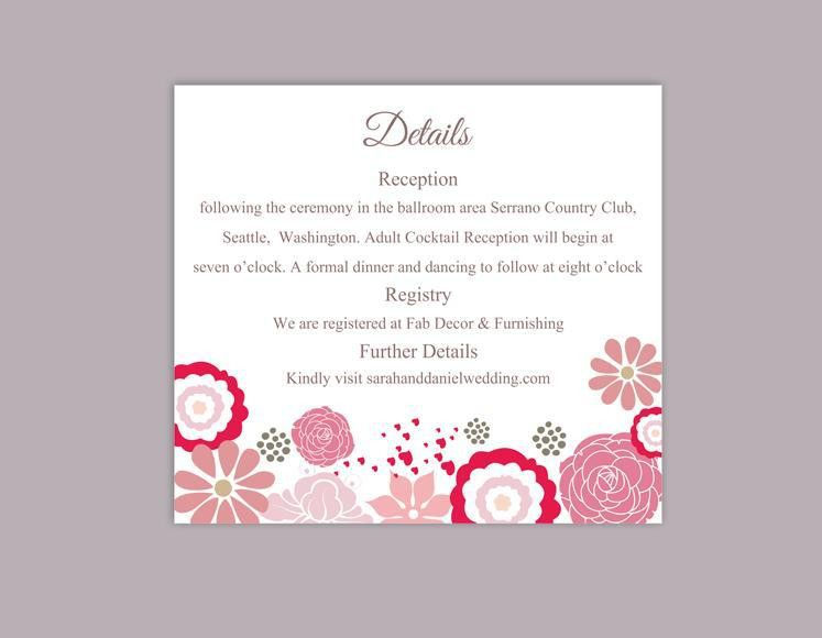 DIY Wedding Details Card Template Editable Word File Download ...