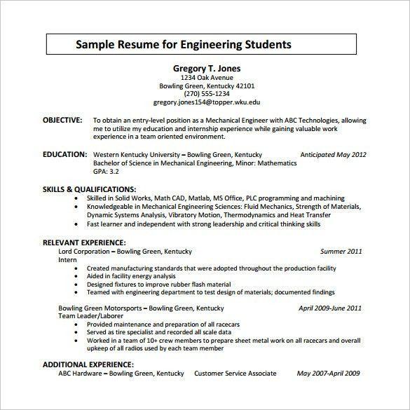 resume for engineering student internship
