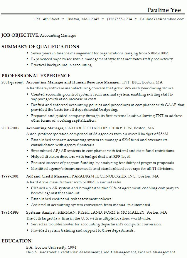 sample resume for an accounting manager susan ireland resumes
