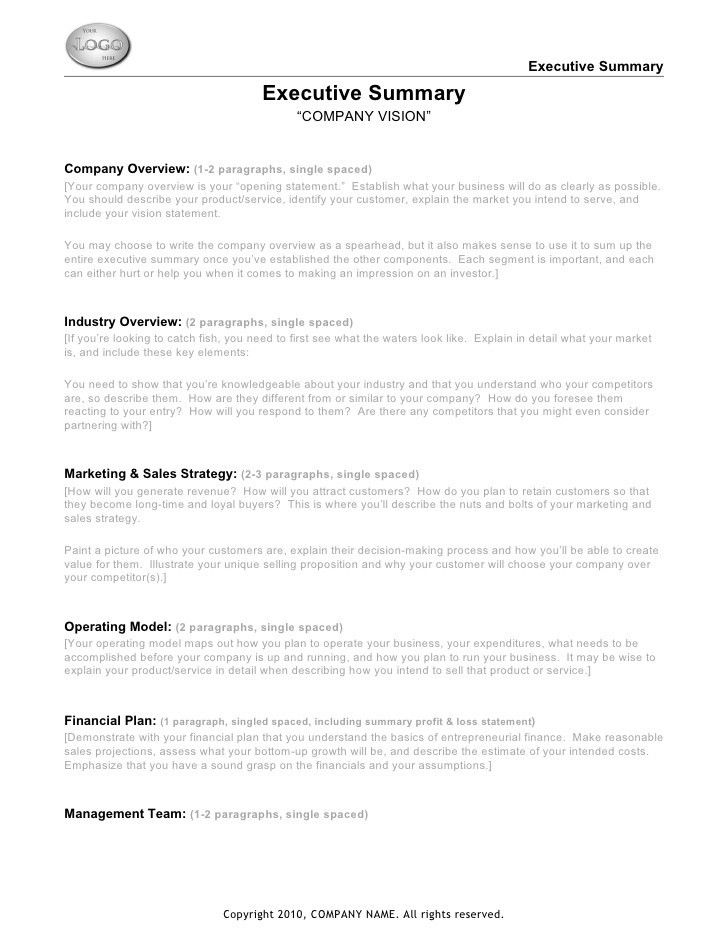 Ict executive summary template