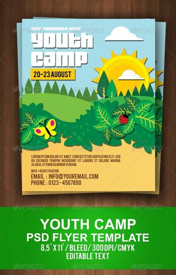 Youth Camp Flyer Template | Youth camp, Flyer template and Event ...