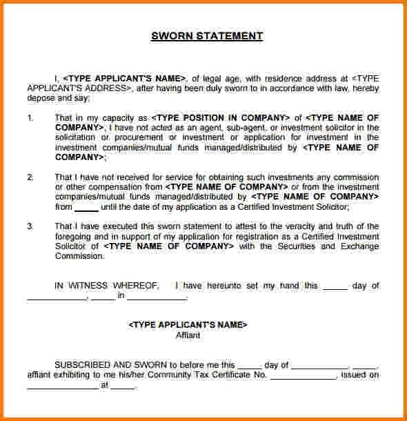 12 sworn financial statement | Financial Statement Form