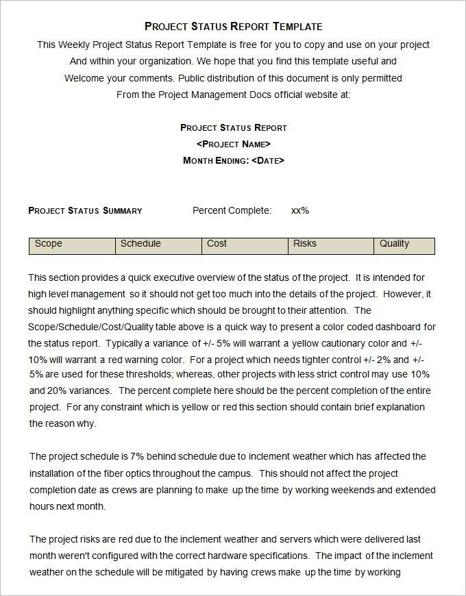 Nice Sample Project Status Report Template   6 Free Word, PDF Documents .