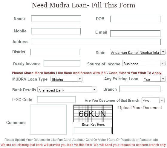 Mudra Loan Online Application Form