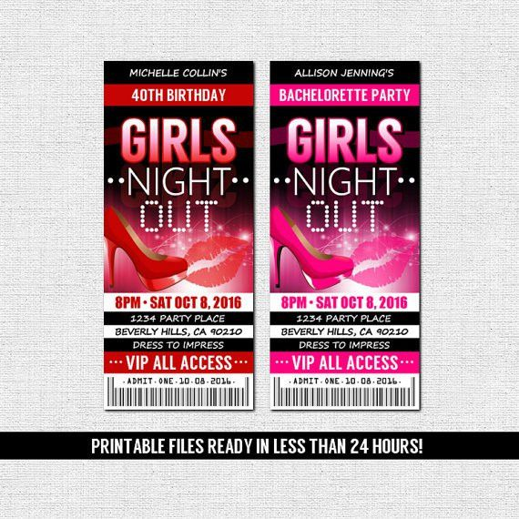 BACHELORETTE or BIRTHDAY PARTY TICKET INVITATION (Printable Files ...