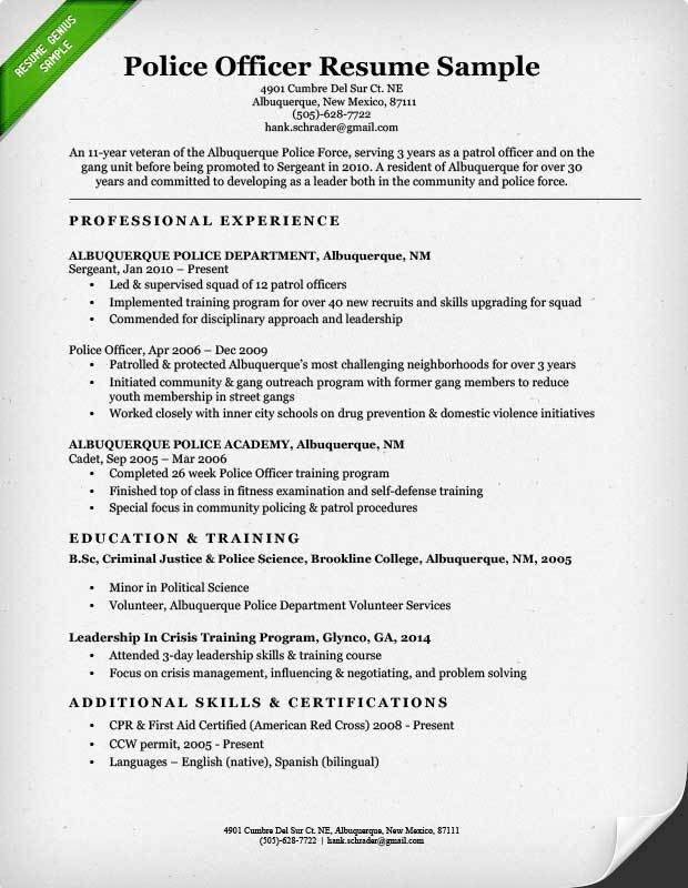 Project Ideas Police Officer Resume Example 12 Municipal Police ...
