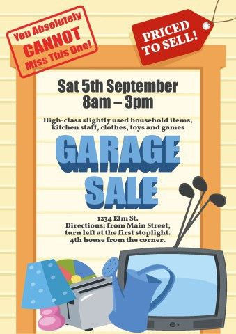 Garage Sale poster template, How to create a Garage Sale poster...