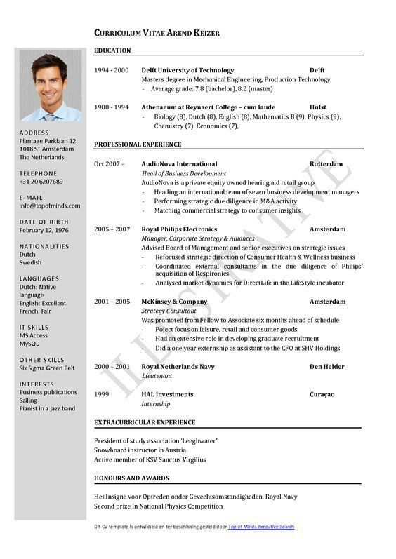Free Curriculum Vitae Template Word | Download CV template: | Oom ...