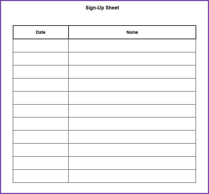 POTLUCK SIGNUP SHEET TEMPLATE WORD | Jobproposalideas.com
