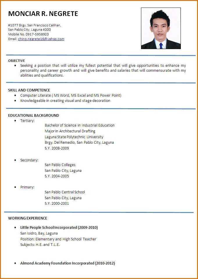 resume template builder word free cv form english throughout major ...