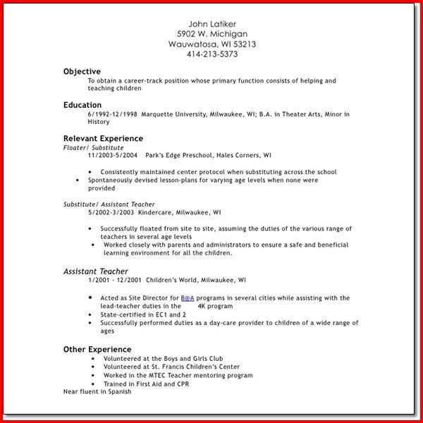 teacher responsibilities for resume substitute teacher resume