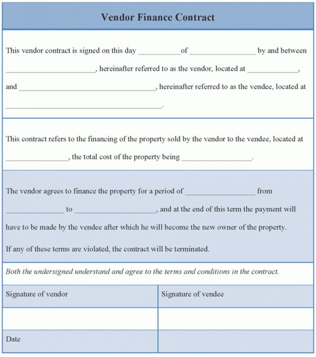 Finance Format of Vendor Finance Contract Template Sample ...