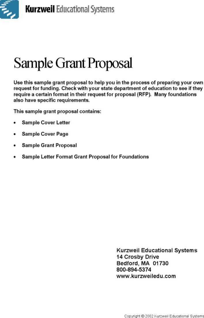 kurzwellii educational systems sample grant proposal use this ...