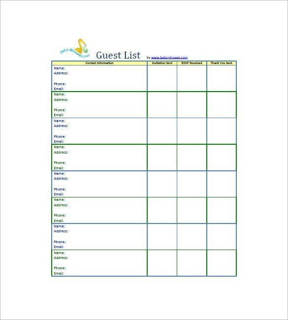 Baby Shower Guest List Template - 8+ Free Word, Excel, PDF Format ...