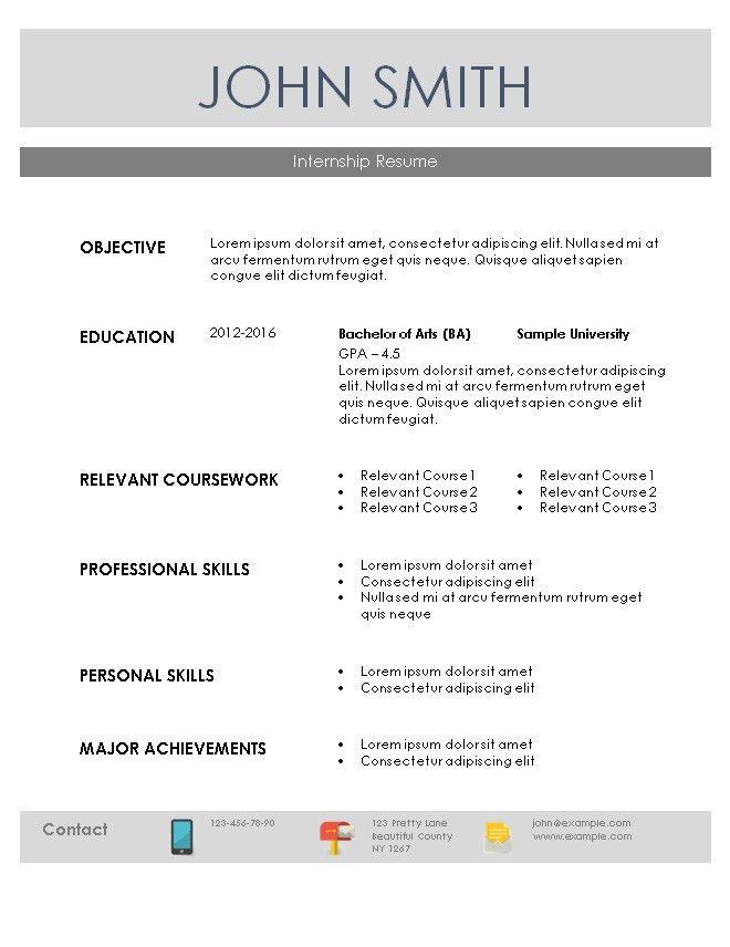 Resume samples with internship