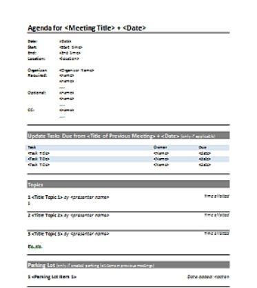 5+ Free Agenda Templates - Excel PDF Formats