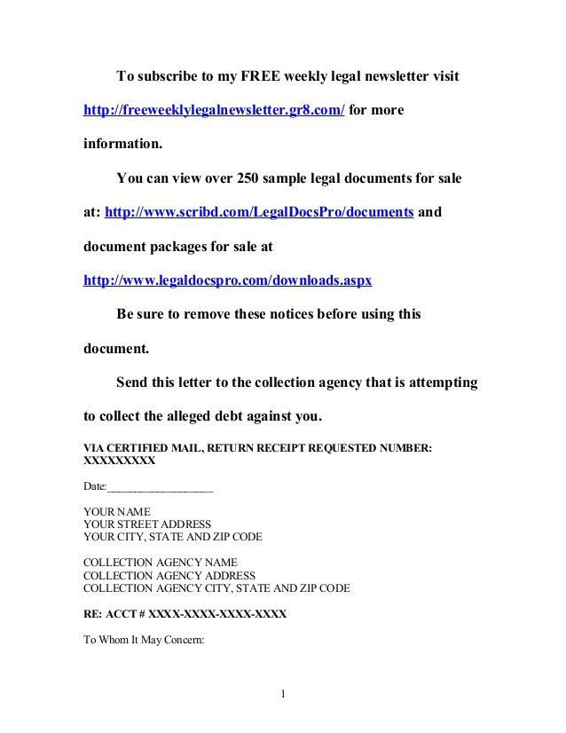 Sample cease and desist letter to collection agency