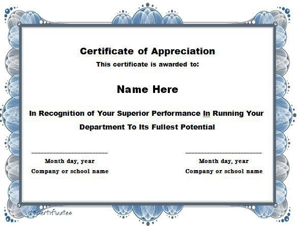 Certificate of Appreciation 15 | certs | Pinterest | Free ...