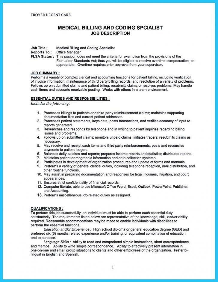 Medical Billing And Coding Resume [Template.billybullock.us ]