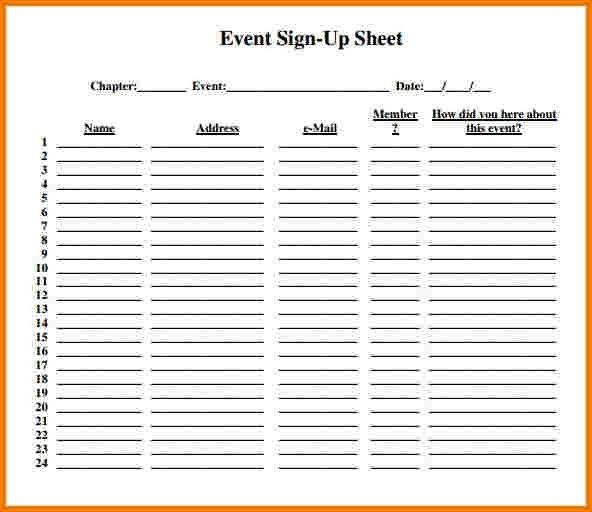 Sample Sign Up Sheet. Sign Up Sheet | Resume Sample Database ...