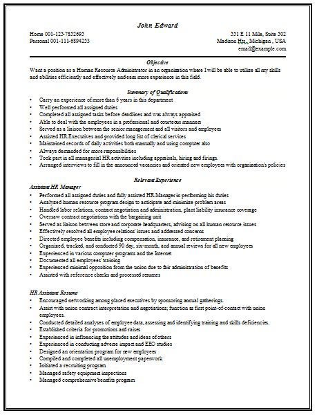 Content Rich Resume Sample for HR Manager with good work ...