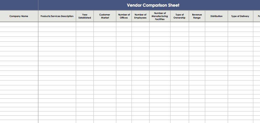 Vendor Comparison Sheet Template | Excel Templates