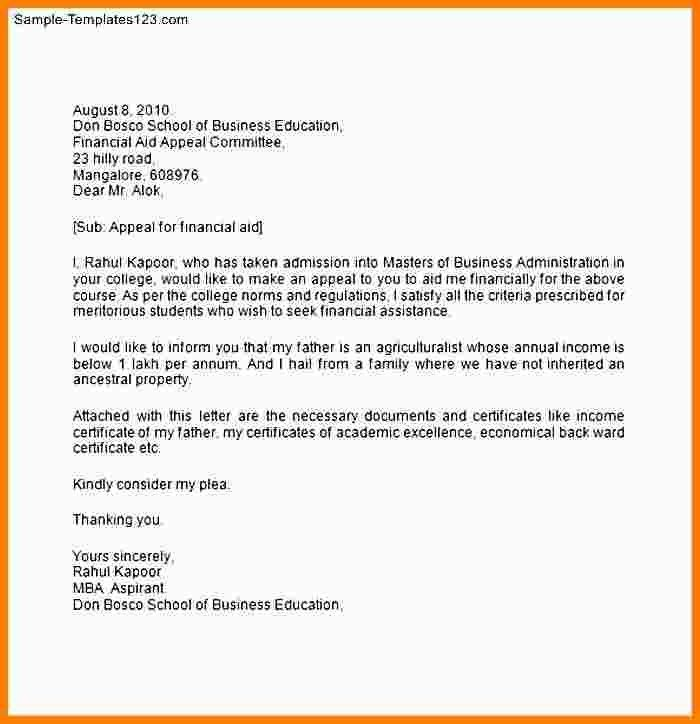 7+ financial aid reinstatement appeal letter example | Statement ...