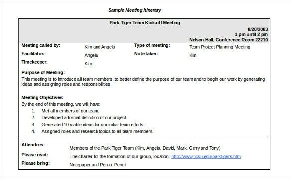 14+ Meeting Itinerary Templates – Sample, Example, Format Download ...