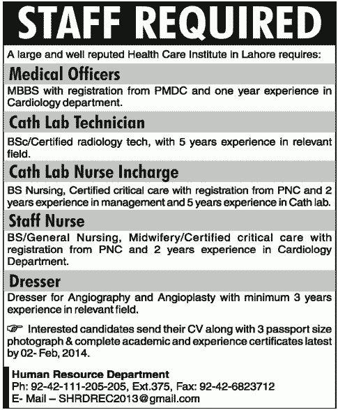 Dresser Job, Health Care Institute Lahore Job, Medical Officers ...