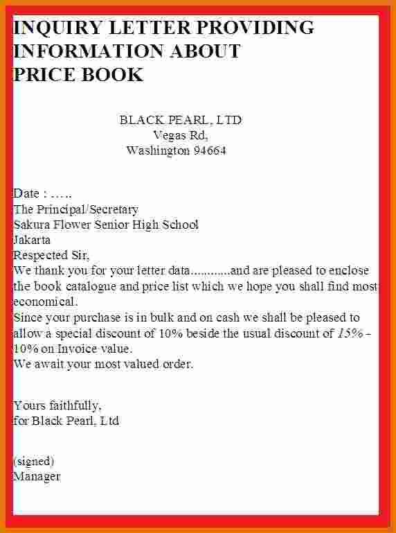 Inquiry Letter Sample For Business Letter Of Inquiry Sales