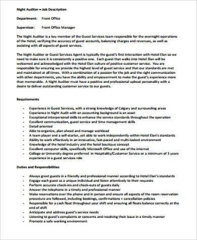 Night Auditor Job Description Sample - 8+ Examples in Word, PDF