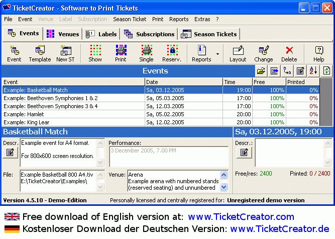Ticket Printing Software Free Download