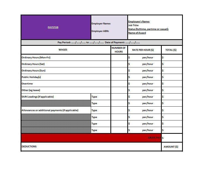 Paycheck Template Excel - Contegri.com