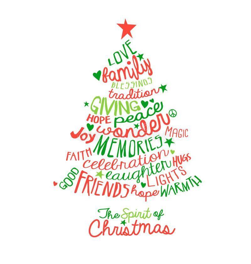 Christmas Card Word Cloud Tree Design Stock Vector - Image: 46279396