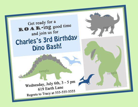 Dinosaur Birthday Invitation Printable or Printed with FREE