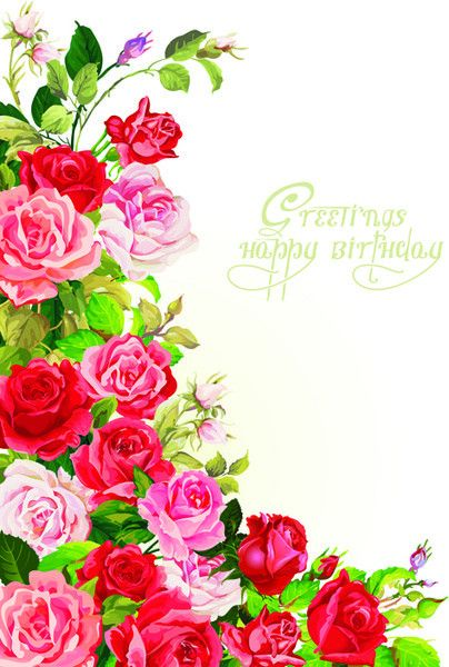 Happy birthday flowers greeting cards Free vector in Encapsulated ...