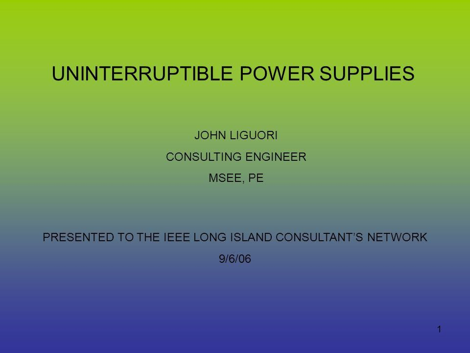 PRESENTED TO THE IEEE LONG ISLAND CONSULTANT'S NETWORK - ppt video ...