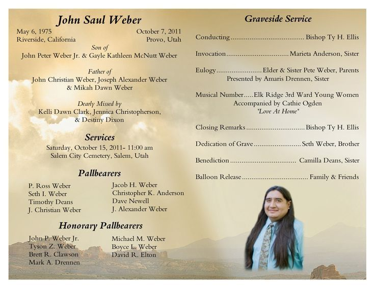 Wonderful Father Funeral Program Template. Bi Fold Funeral Program Template .