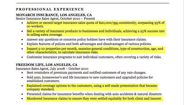 Insurance Agent Resume Sample | Resume Companion