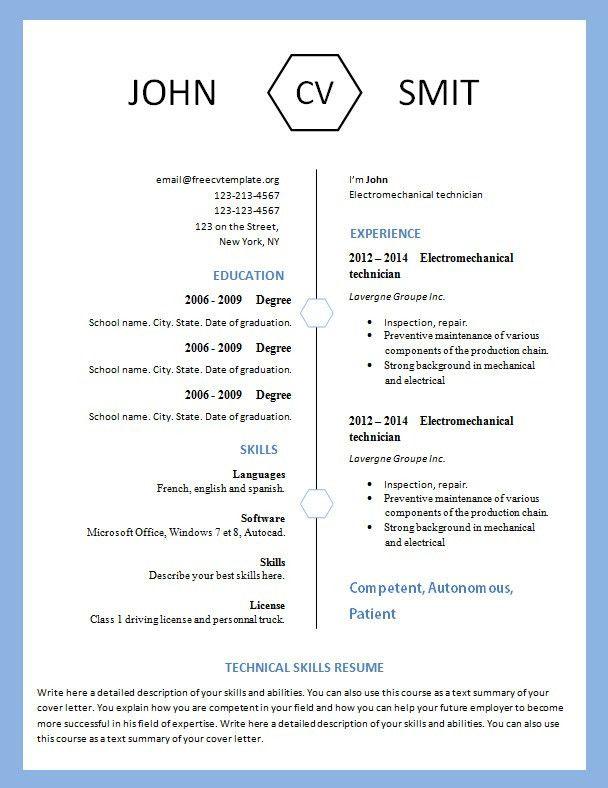 Modern Resume Template #793 – 799 – freecvtemplate.org