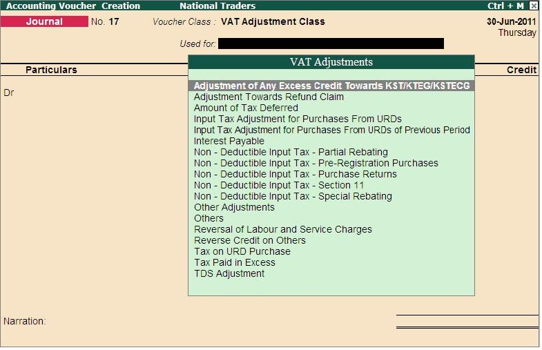 How do I create a voucher class in journal voucher to account for ...