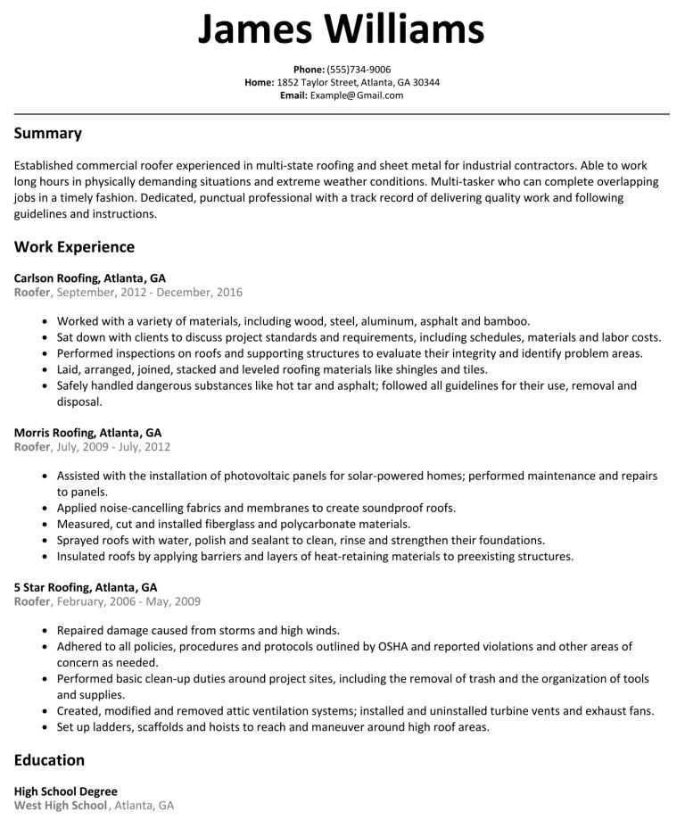 Roofer Resume Roofer Resume Free Roofer Resume Example Roofer